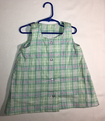 Shades of green plaid flannel jumper, size 2