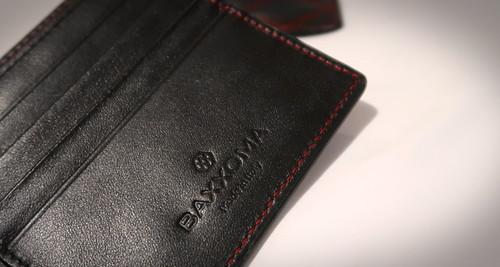 portefeuille Baxxoma en cuir surpiqûres rouges
