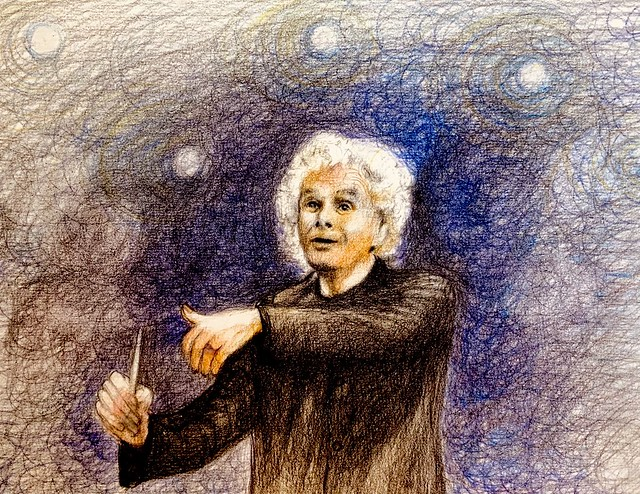 Portrait of, Sir Simon Denis Rattle. OM CBE. British Conductor. Polychromos Pencil drawing by jmsw on white card.