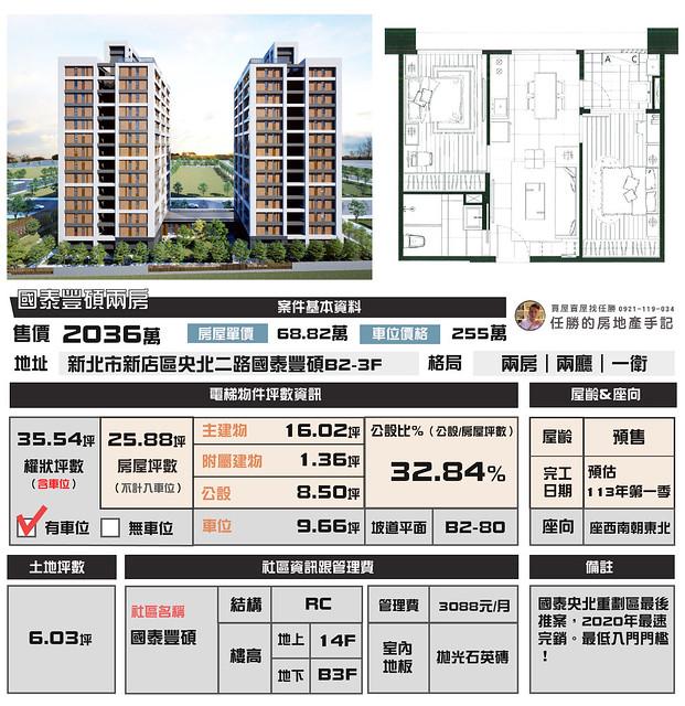 (Sold out)電梯物件推薦-國泰豐碩兩房