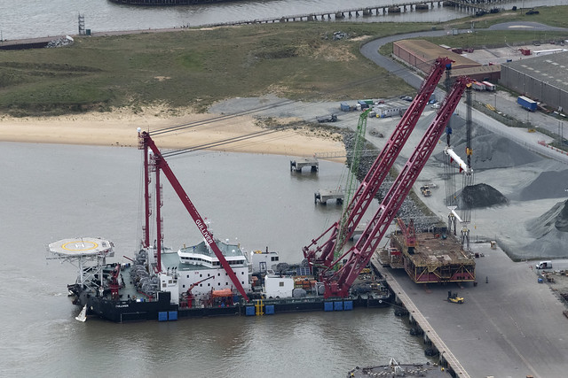 Great Yarmouth aerial image - Gulliver floating crane in the Outer Harbour