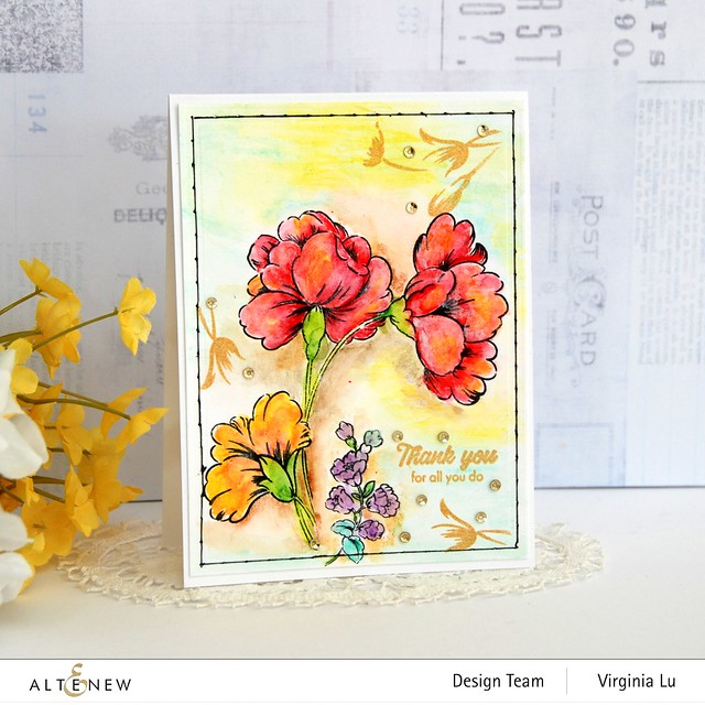 Altenew- Woodless Watercolor Pencil 24 Set-Sweet Flowers Stamp & Die Bundle-3 Fine Line Pen Set-String Art Die Set (4)