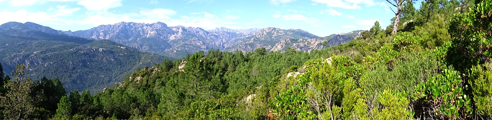 Panoramique crêtes de Bavedda depuis le sentier de Conca