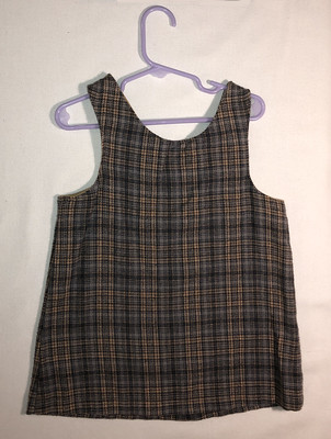 Tan and gray plaid flannel jumper, size 2