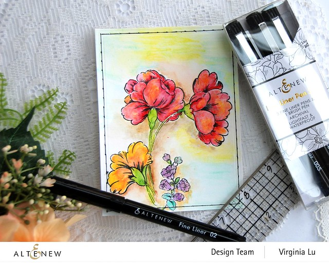 Altenew- Woodless Watercolor Pencil 24 Set-Sweet Flowers Stamp & Die Bundle-3 Fine Line Pen Set-String Art Die Set (2)