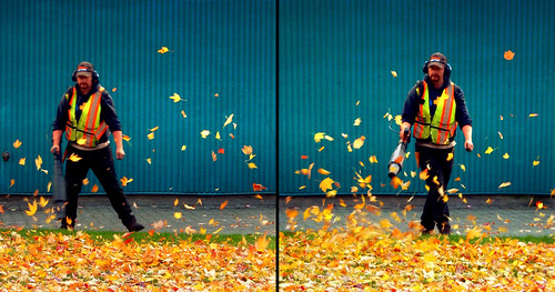 the leaf blower 2-step dance run through the photo app Stackables