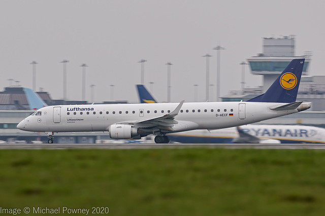 D-AECF - 2010 build Embraer 190-100LR, rolling for departure on Runway 23R at Manchester