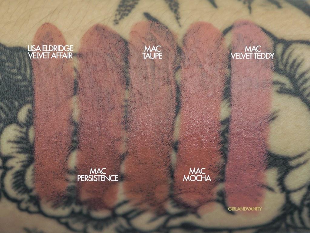 Lisa Eldridge Velvet Affair vs MAC persistence vs MAC Taupe vs MAC Mocha vs MAC velvet teddy nude lipsticks tan olive skin