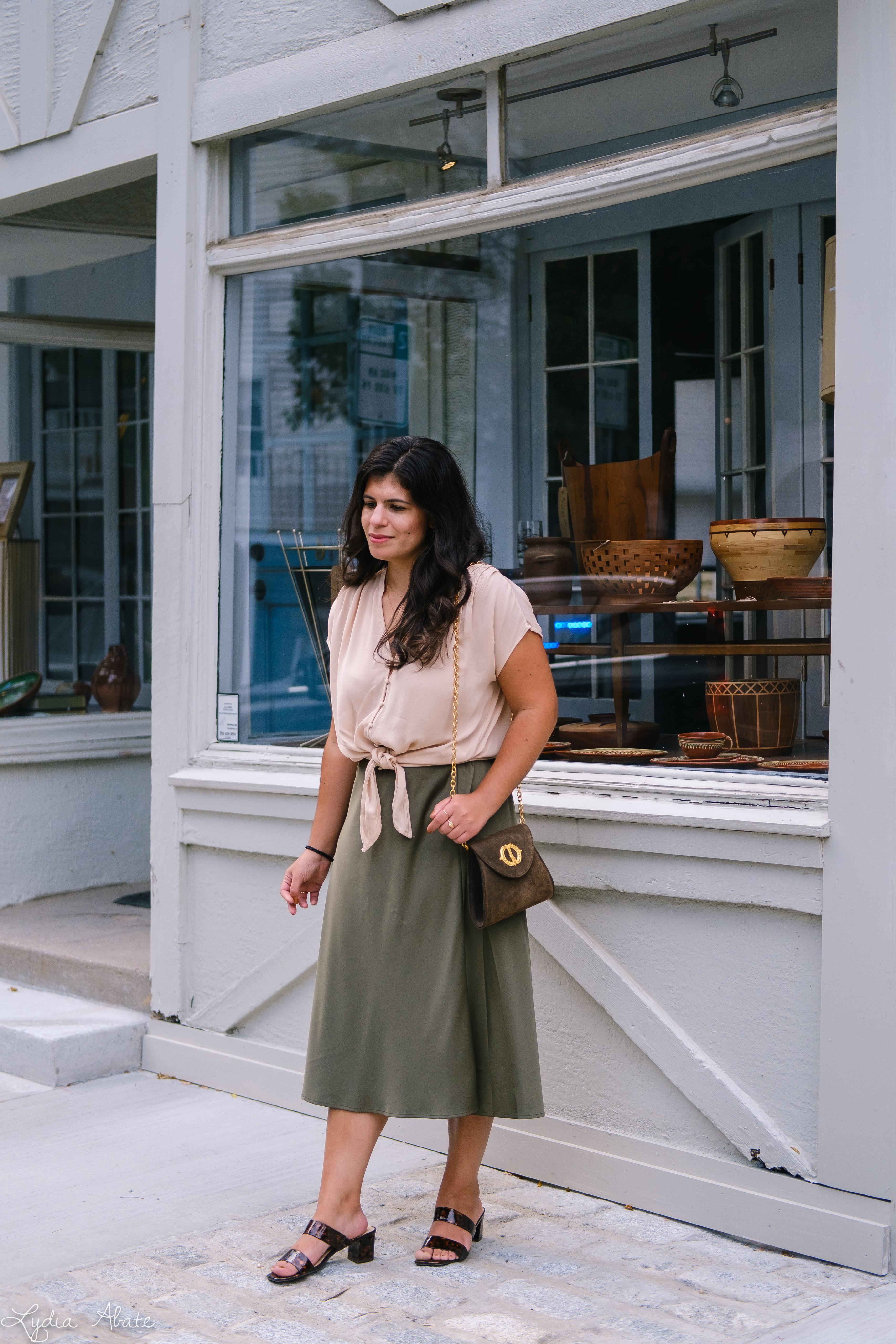 green slip skirt, silk blush knotted blouse, tortoise slides vintage chain bag-2.jpg
