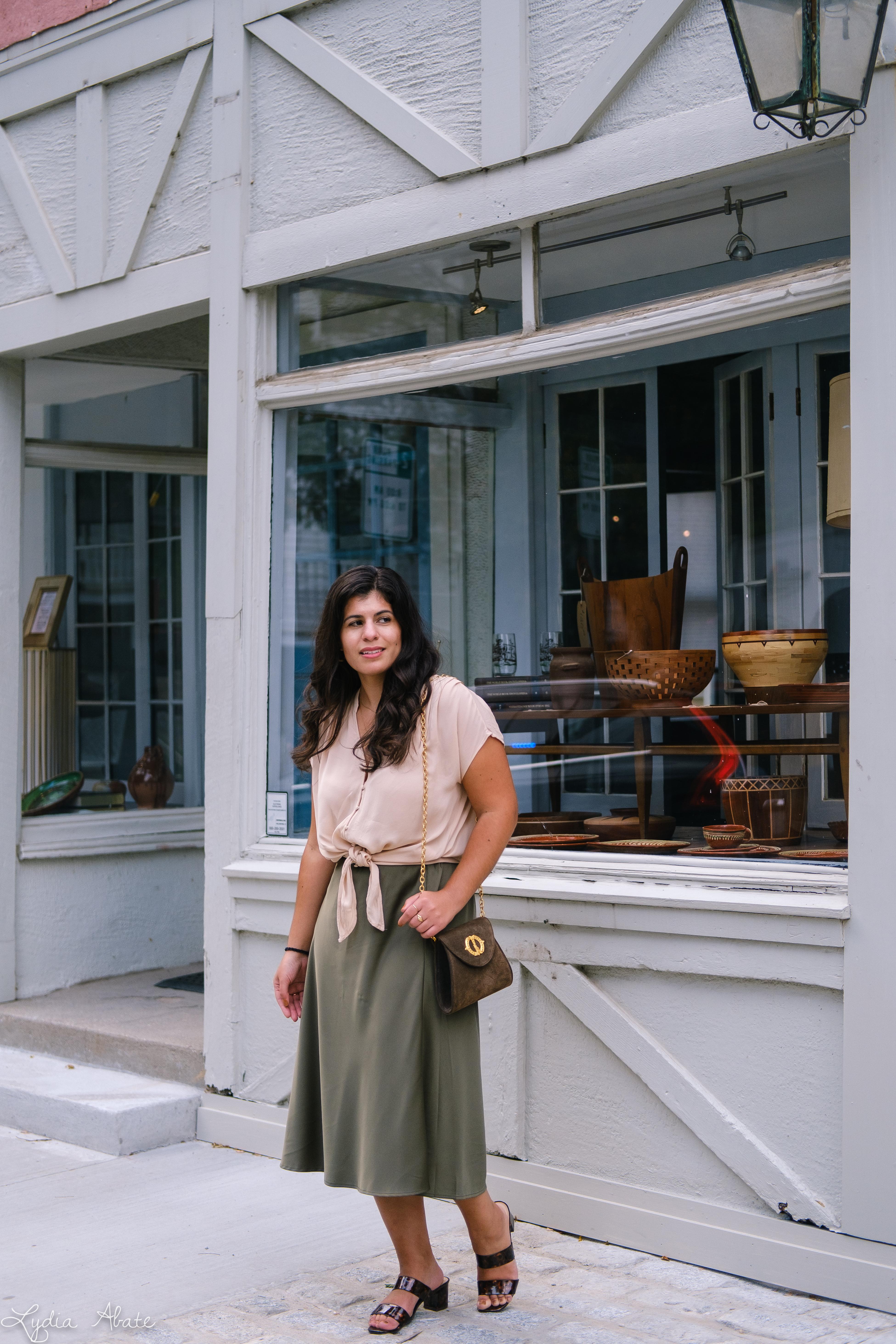 green slip skirt, silk blush knotted blouse, tortoise slides vintage chain bag-3.jpg
