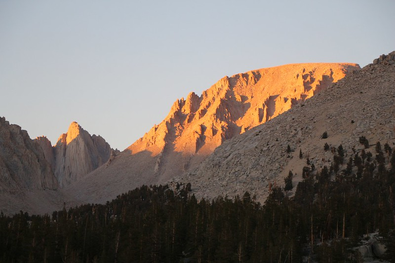 Sunset light on Mount Russell and Mount Whitney from Crabtree Meadow