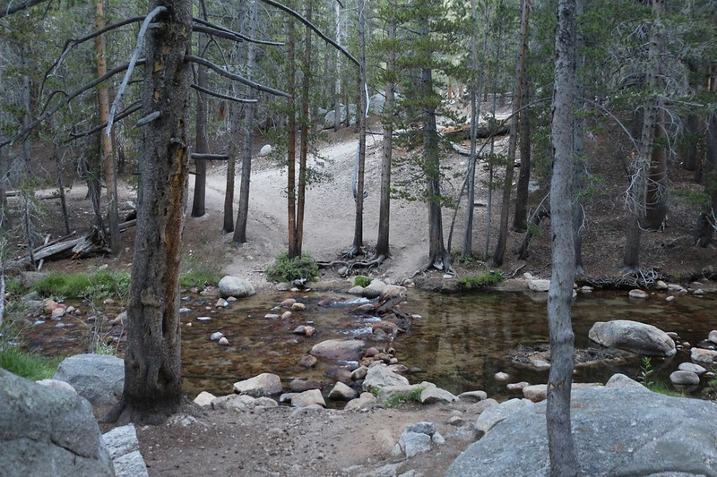 The water crossing at Rock Creek where the Pacific Crest Trail heads north
