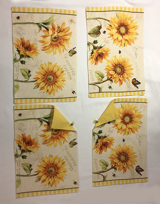 Set of 4 - yellow flowers