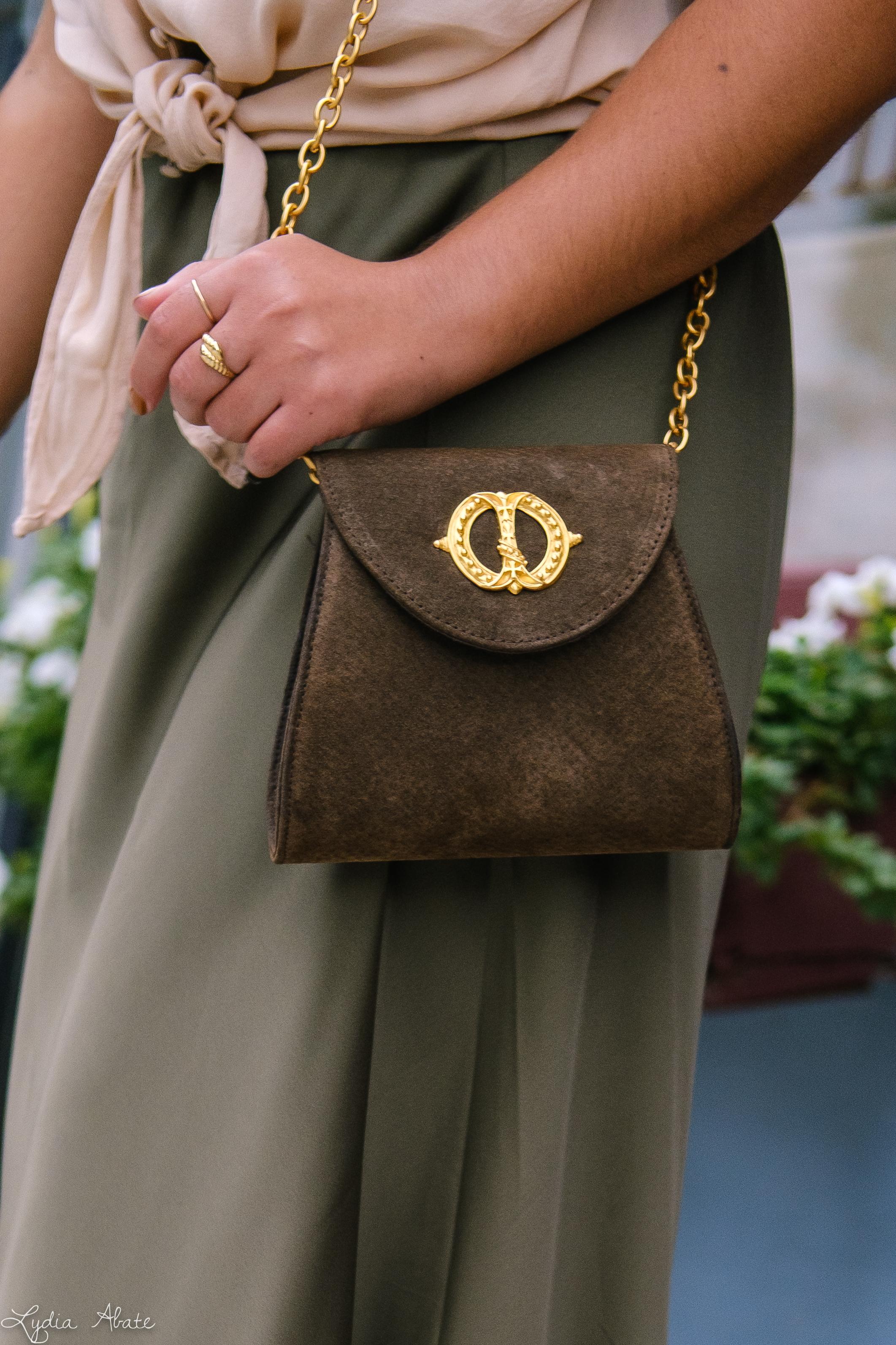 green slip skirt, silk blush knotted blouse, tortoise slides vintage chain bag-12.jpg