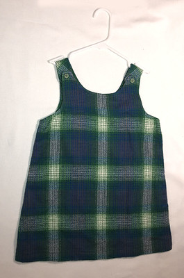 green plaid flannel jumper, size 6