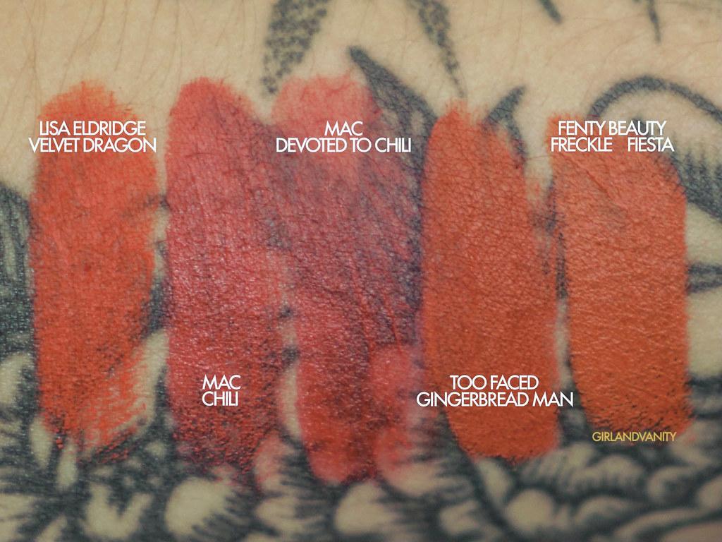 Lisa Eldridge Velvet Dragon swatch  vs MAC chili vs MAC devoted to chili vs Too Faced Gingerbread Man vs Fenty Beauty Freckle Fiesta medium tan skin medium olive skin nc35 skin