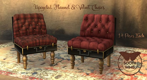 SW- Upcycled Flannel & Velvet Chairs - Midnight Madness