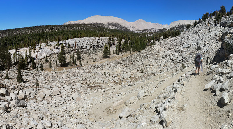 Hiking down many switchbacks through a talus slide as we head north on the PCT toward Crabtree Meadow