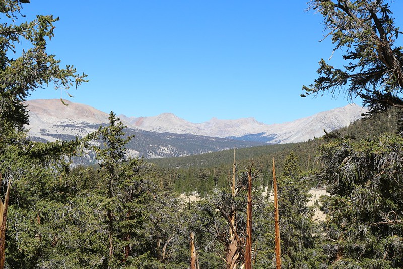 View northwest looking out over the Kern River Valley from the Pacific Crest Trail just north of Guyot Pass