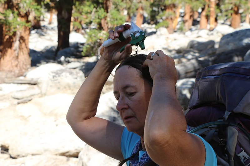The final climb to Guyot Pass was steep and hot, so Vicki cooled off her head with the water sprayer