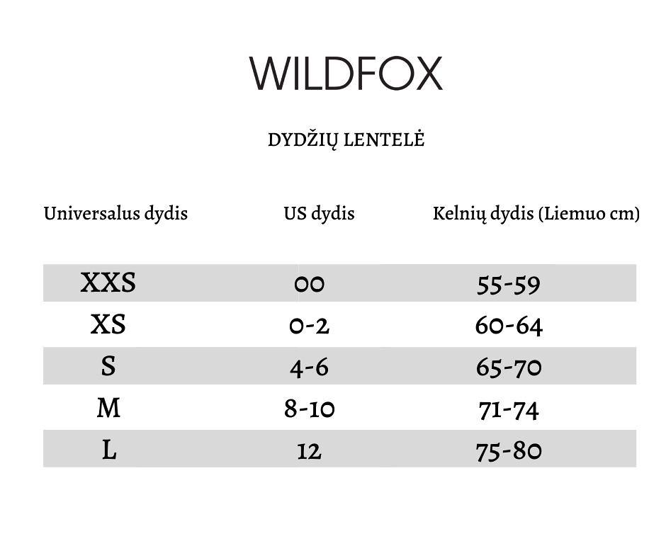 Wildfox dydžių lentelė