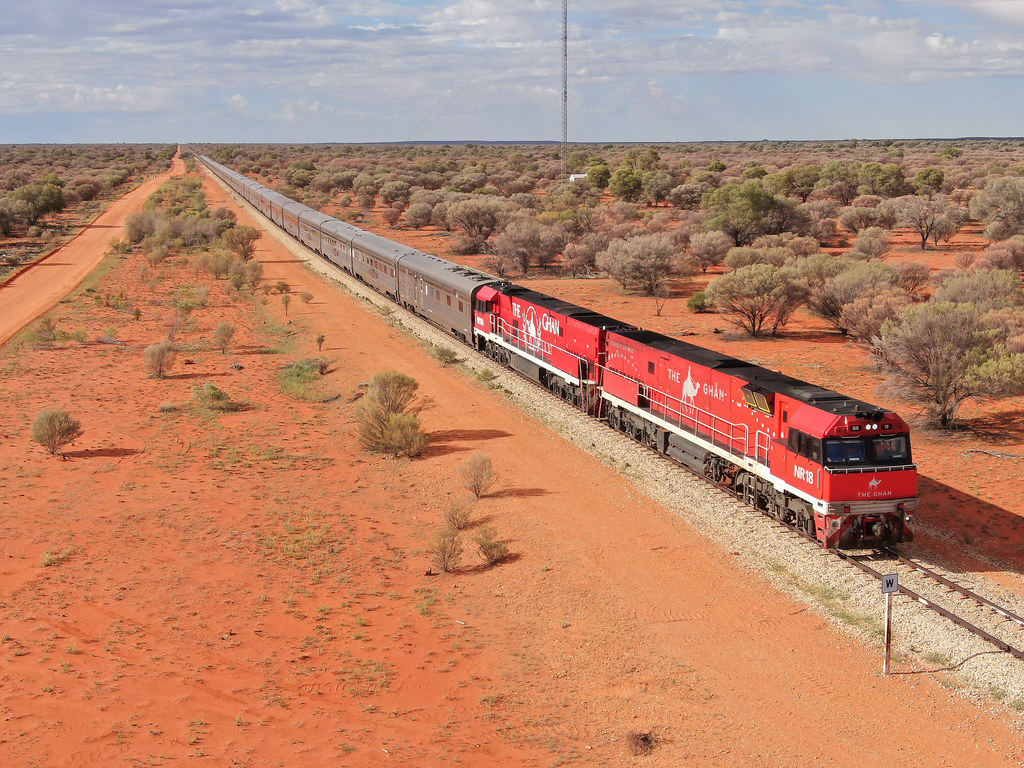 Ghan in the outback by David Arnold