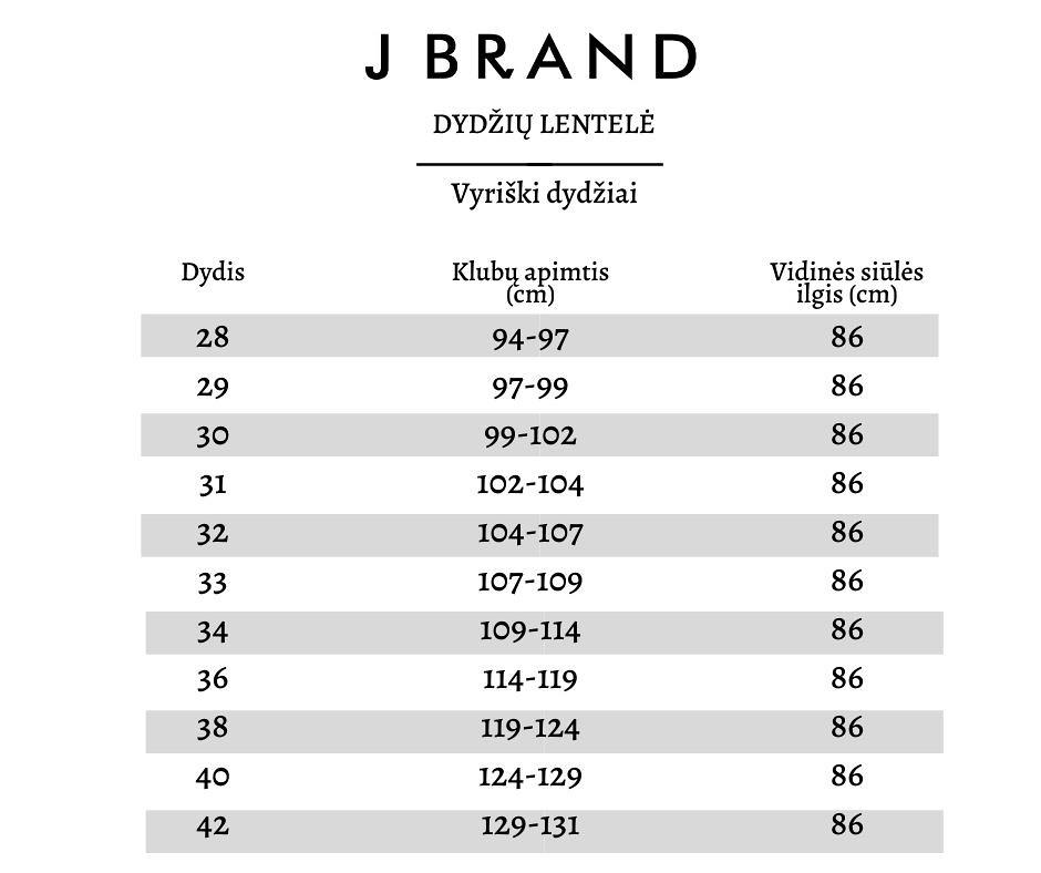 J Brand dydžių lentelė