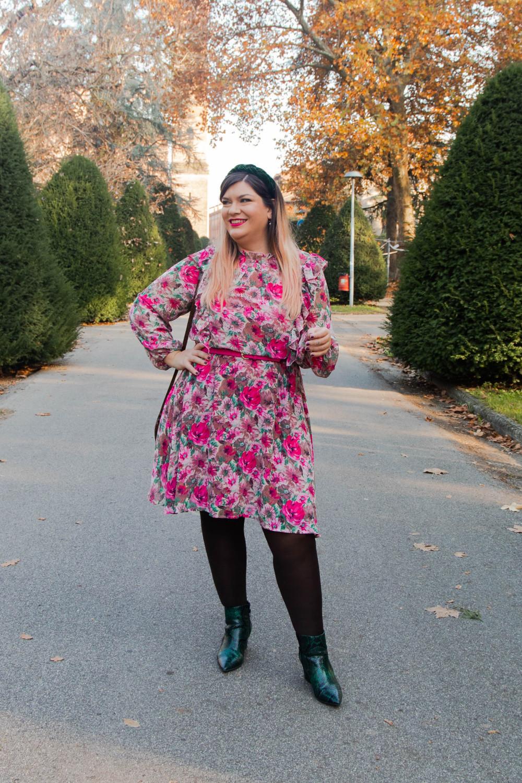 outfit curvy plus size SHEIN abnito fiorata (8)