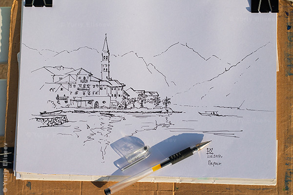 Drawing in Perast, Montenegro