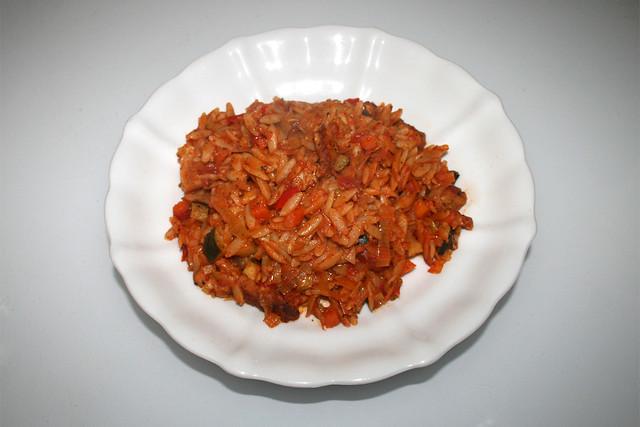 Italian turkey veg orzo skillet - Leftovers II / Italienische Kritharaki-Gemüse-Pfanne mit Putenstreifen - Resteverbrauch II