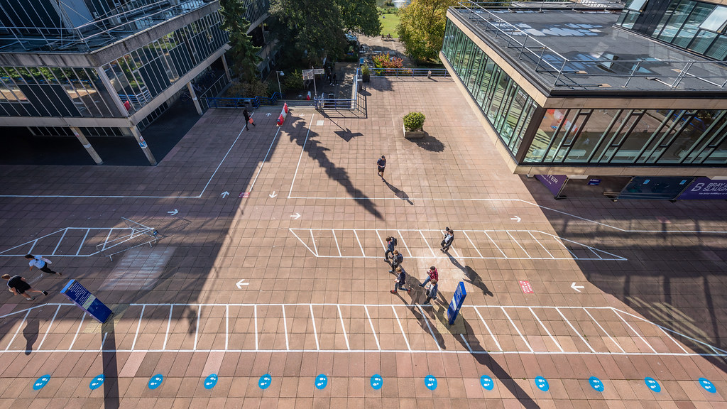 An aerial view of social distancing measures on campus.