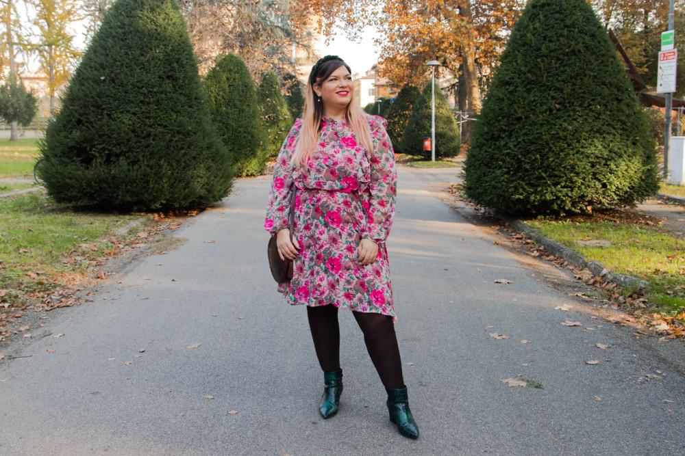 outfit curvy plus size SHEIN abnito fiorata (11)