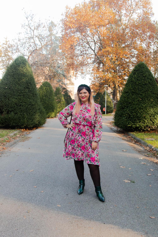 outfit curvy plus size SHEIN abnito fiorata (9)