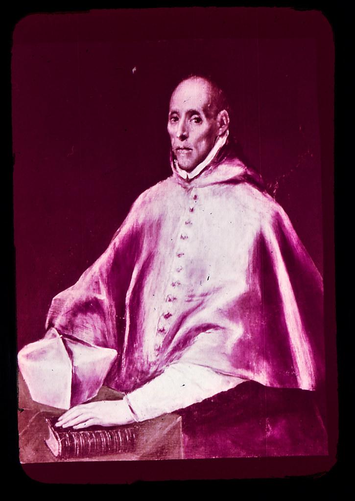 Retrato del Cardenal Tavera por el Greco en Toledo hacia 1965. Diapositiva incluida en el Librofilm Aguilar dedicado a la ciudad en ese año. Colección personal de Eduardo Sánchez Butragueño.