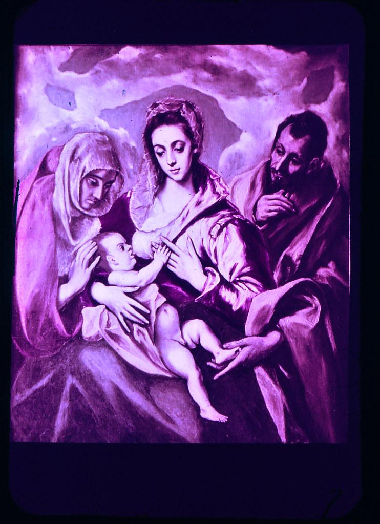 Cuadro de la Sagrada Familia con Santa Ana por el Greco, en el Hospital Tavera de Toledo hacia 1965. Diapositiva incluida en el Librofilm Aguilar dedicado a la ciudad en ese año. Colección personal de Eduardo Sánchez Butragueño.