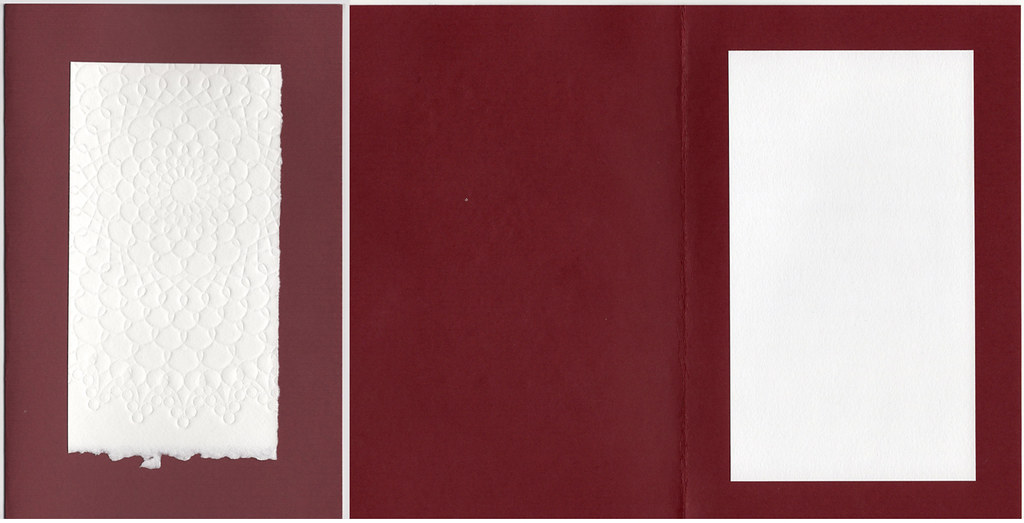 Blank embossed all occasion card, red and white with envelope