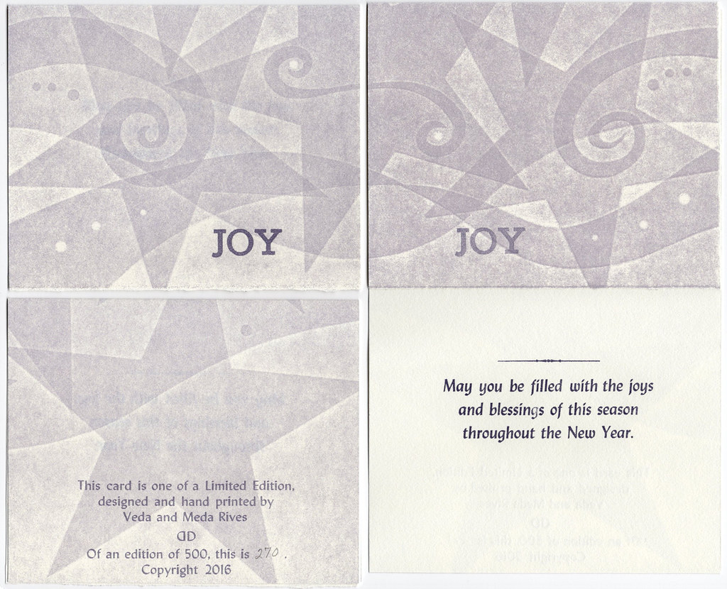 "Christmas Card pack of 5 with envelopes ""JOY"" (purple stars)"