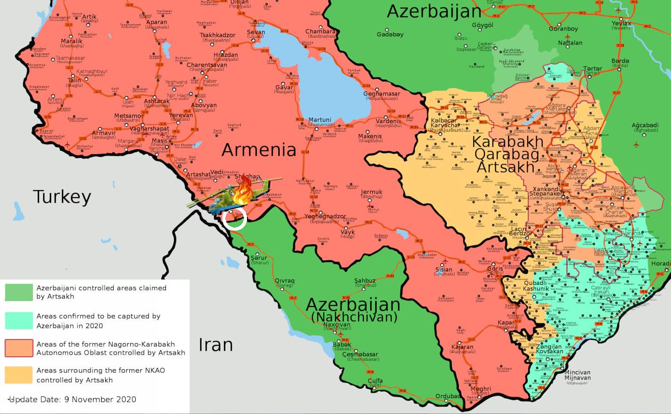 Carte du crash de l'hélicoptère russe en Arménie
