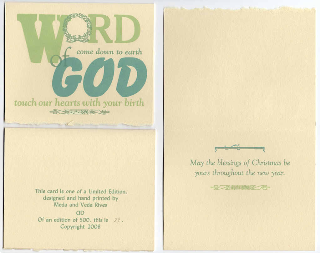 "Christmas Card pack of 5 with envelopes ""Word of God …."""