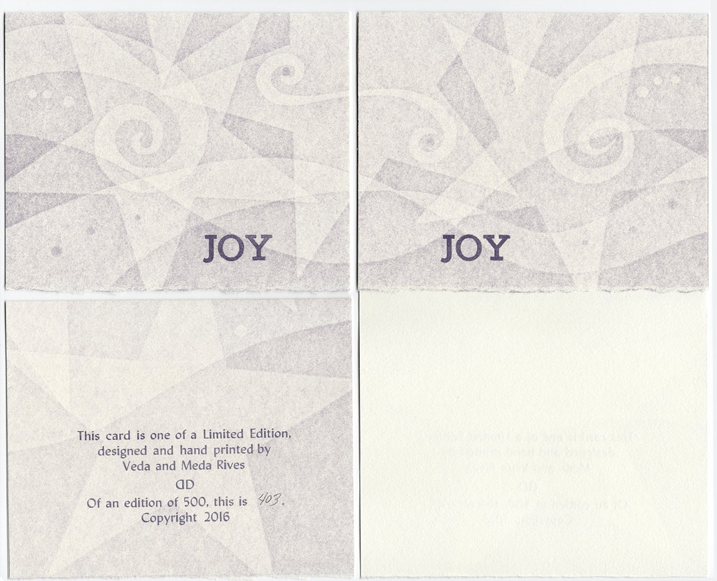 "All Occasion Blank Card pack of 5 with envelopes ""JOY"" (white stars)"