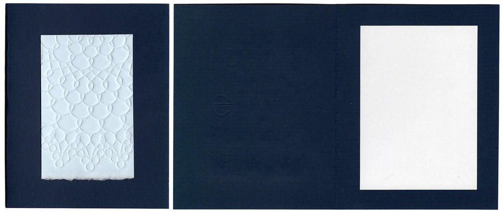 Blank embossed small all occasion card, navy and light blue with envelope
