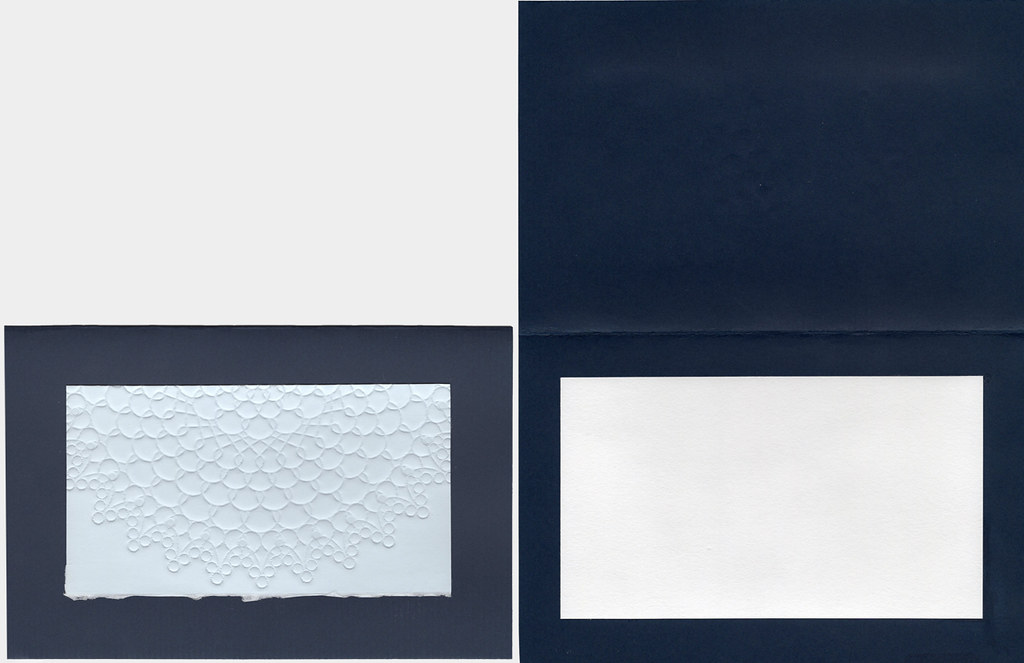 Blank embossed all occasion card, navy and light blue with envelope