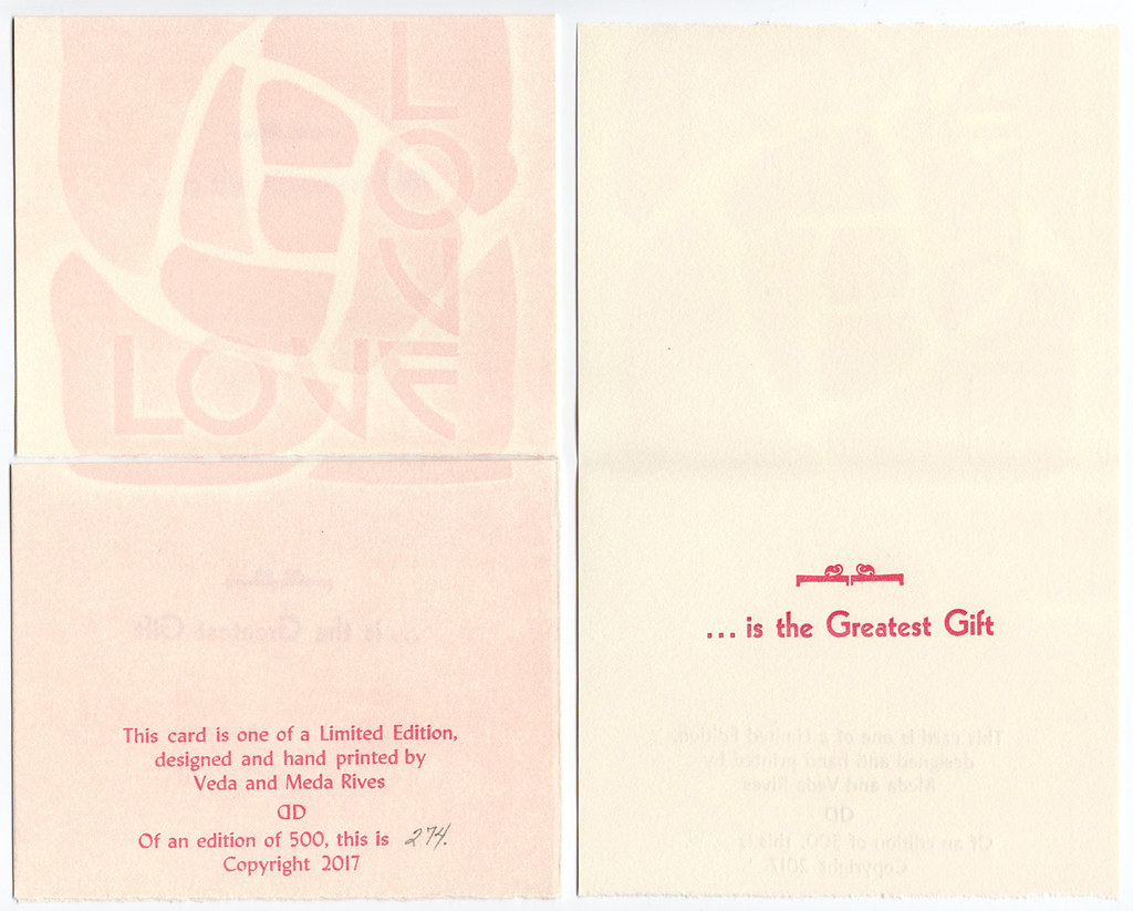 "Christmas Card pack of 5 with envelopes ""Love Love ... is the Greatest Gift"" (pink rose)"