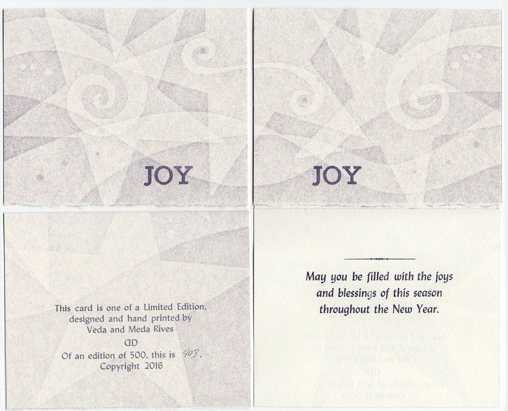 "Christmas card pack of 5 with envelopes ""JOY"" (white stars)"