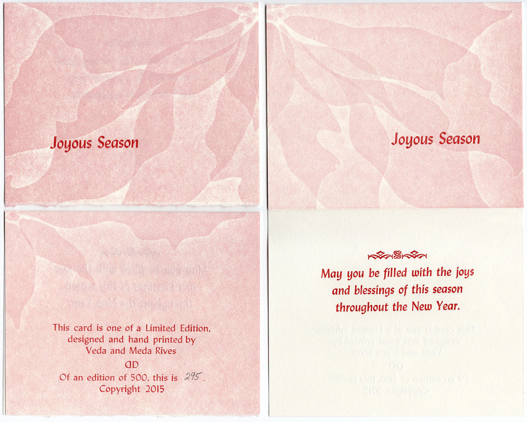 "Christmas Card pack of 5 with envelopes ""Joyous Season"" (pink poinsettia)"