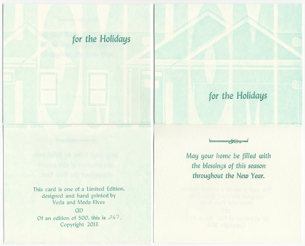 "Christmas Card pack of 5 with envelopes ""Home for the Holidays"""