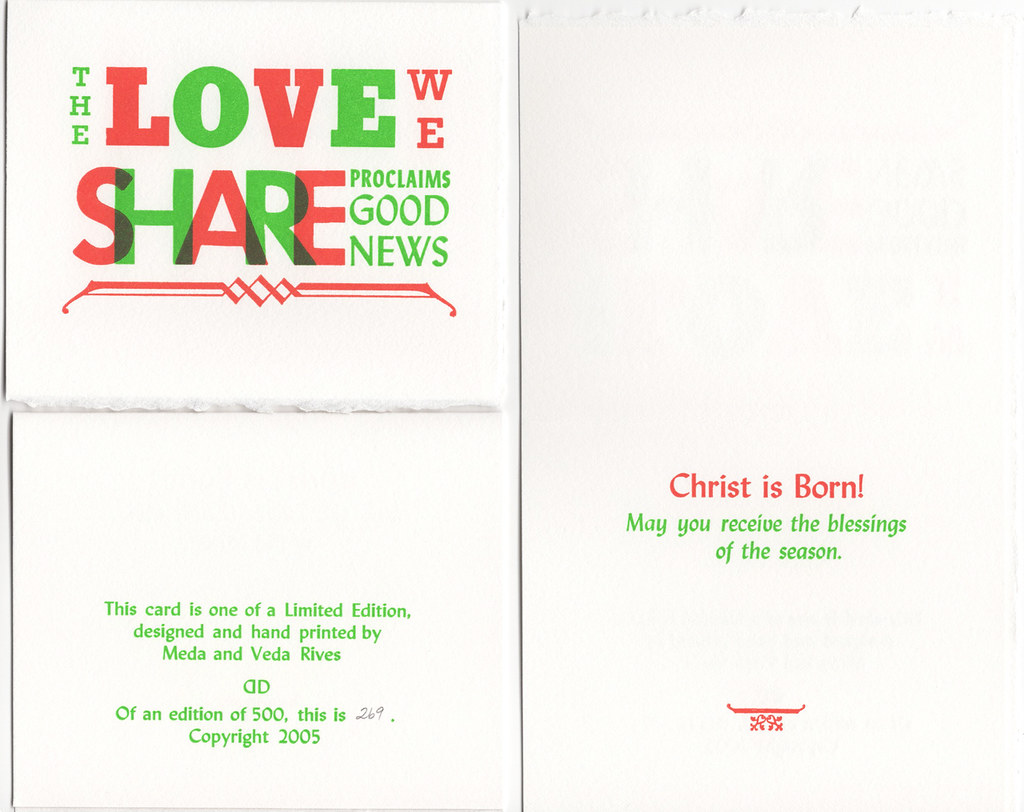 "Christmas Card pack of 5 with envelopes ""The Love We Share"""
