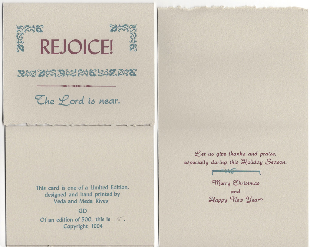 "Christmas Card pack of 5 with envelopes ""Rejoice"""