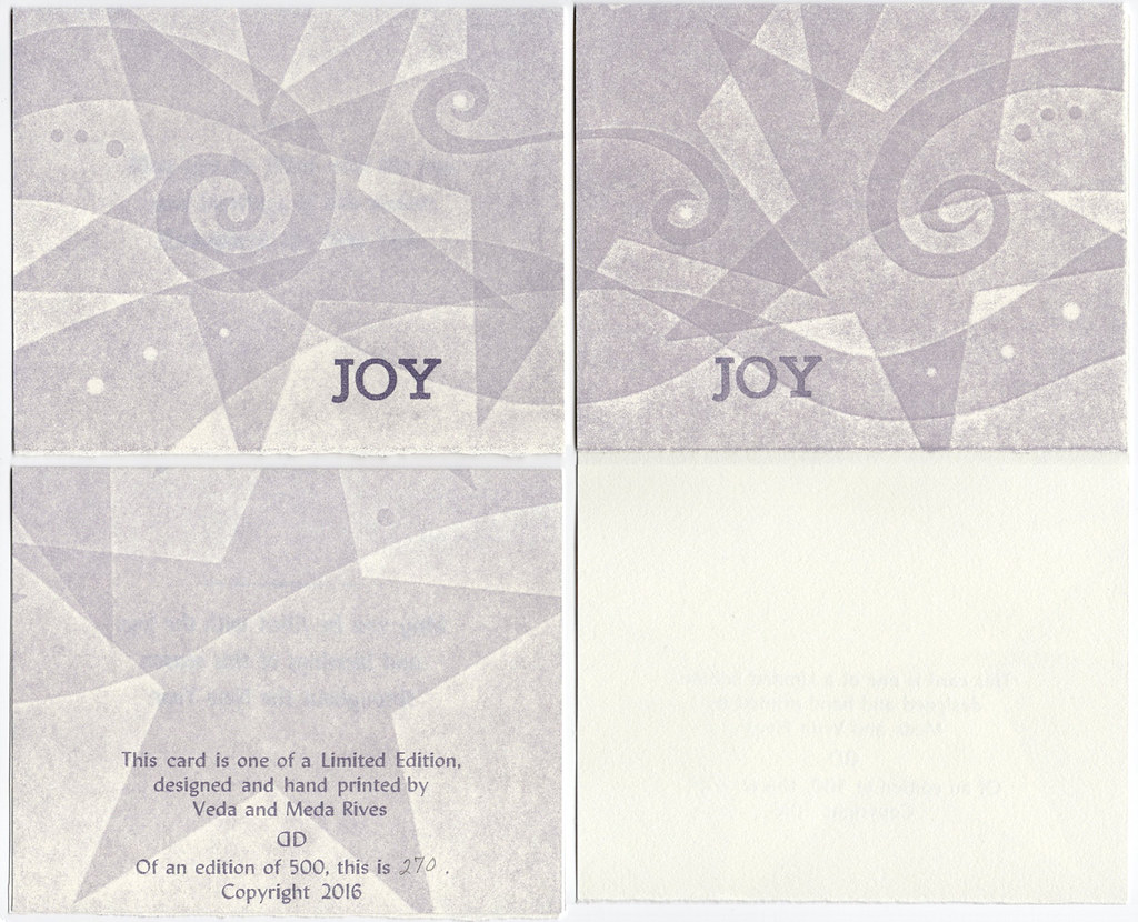 "All Occasion Blank Card pack of 5 with envelopes ""JOY"" (purple stars)"