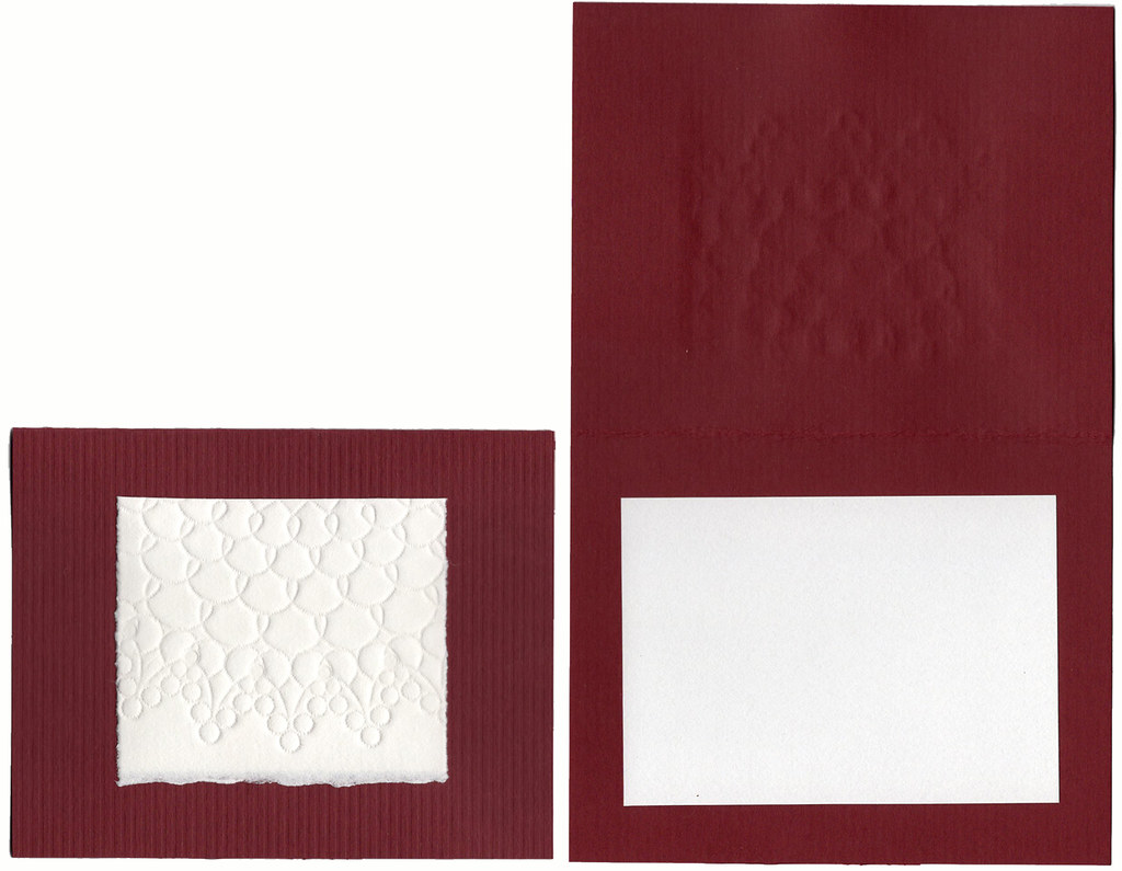 Blank embossed small all occasion card, red and white with envelope